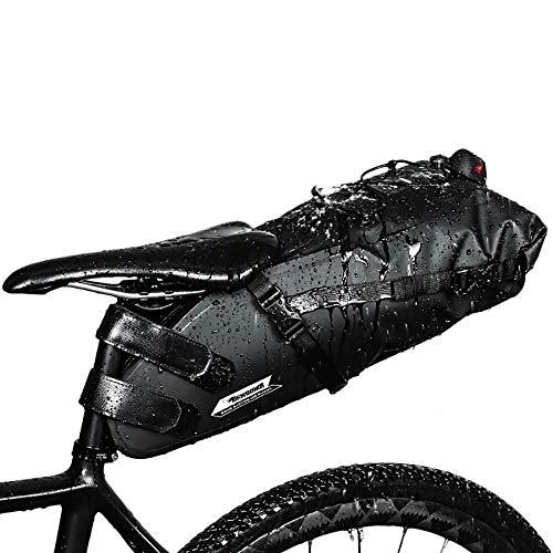 10L Bolsa de Sillín Enrollable de Bicicleta Montaña Bici Mochila Alforja Impermeable Asiento de Ciclismo en Forma de Cuña con Correa Tija o Asiento Tresero