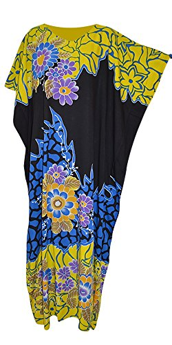 JOHORE Amazing Floral Soft Kaftan Kaftan Cool Lange Damen Sommerkleid Plus Robe Jilbab Marokkaner Cool Kaftan (Freesize Fits UK 8 to 34, Black Yellow Blue) (Robe Floral Blue)