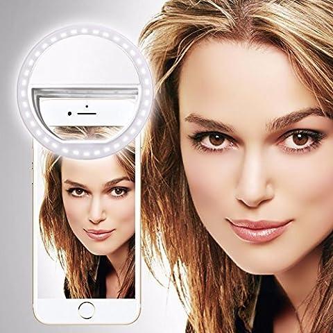 UMIDIGI G (weiß) Klipp auf Selfie Ring-Licht [Große Fotografie] mit 36 ??LED für intelligentes Telefon Kamera runder Form, durch I-Tronixs