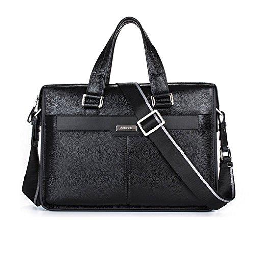 KAXIDY Leder Handtaschen Messenger Bag Businesstaschen Aktentaschen Umhängetaschen Crossover Taschen (Große, Kaffee) Schwarz