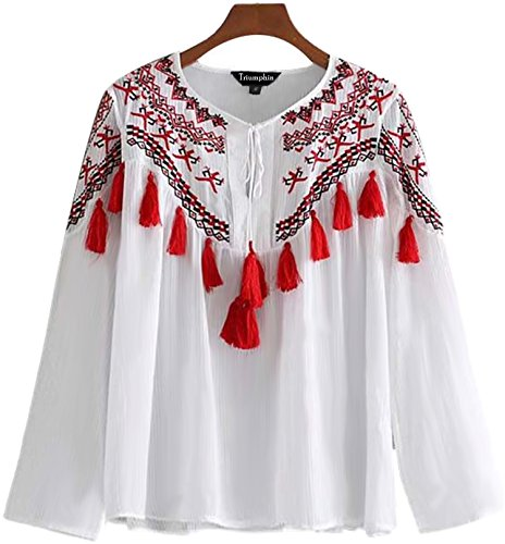 Triumphin White Women Girls Boat Neck Embroidered Rayon Cotton Top for Dailywear Stylish Casual and Western Wear Women/Girls Tops
