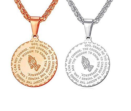 LF Edelstahl Bibel Vers Hand Gebet Halskette Lords Gott Segen Betende Hände Münze Medaille Anhänger Halskette für Männer Frauen Christian Schmuck (Bibel-verse Für Kinder)