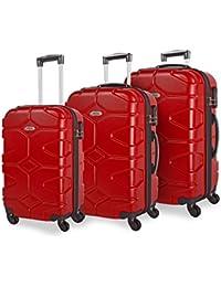ITACA - 68100 SET 3 TROLLEYS ABS 50/60/70CM, Color Rojo
