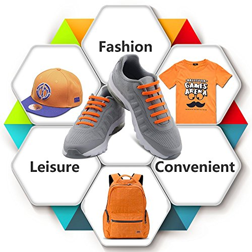 Homer No Tie Shoelaces für Kinder und Erwachsene Wasserdichte Silikon flache elastische Sportlauf Schnürsenkel mit Multicolor für Sneaker Stiefel Brettschuhe und Freizeitschuhe Adult Size Orange