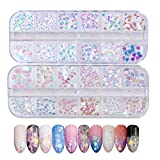 24 Boxes Holographic Nail Sequins, Nail Art Glitter Flakes Sparkles Ultra-thin Iridescent Heart butterfly Smile Face Star Round Patterns Glitter Sticker Decals for Nail Art Decoration