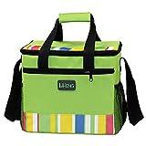 BUOU Outdoor Picknick Tasche Kühltasche Oxford Tuch Doppeldeck Wasserdicht Takeout Aluminiumfolie Isolierung Mittagessen Cold Box (Grün)