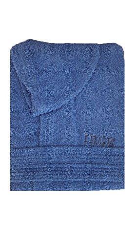 Accappatoio con cappuccio in spugna 100% cotone tinta unita uomo donna unisex irge (l, blu royal)