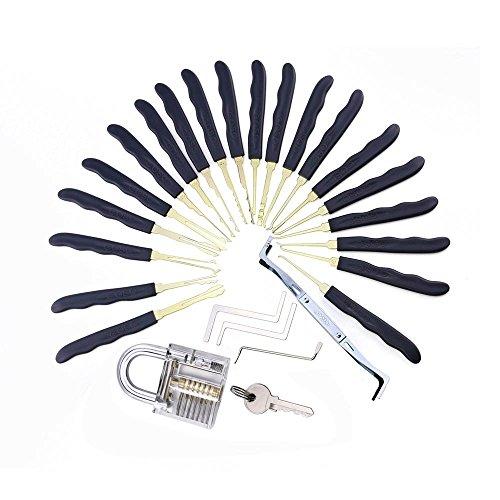 loboo altissima qualità acciaio INOX 24PCS Goso grimaldelli Fabbro Lockpick Fast Lock Opener con borsa in pelle + trasparente lucchetto pratica serratura