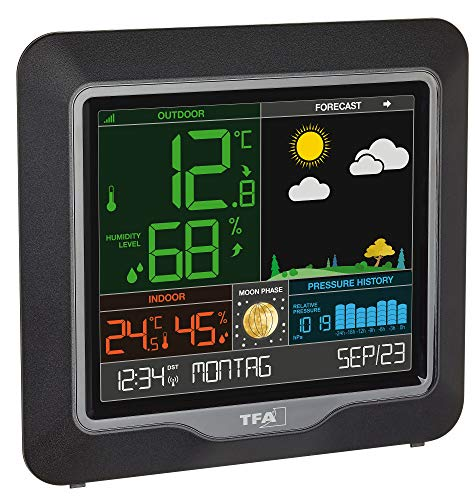 Estación meteorológica inalámbrica Season TFA 35.1150.01 con Pantalla a Color, Schwarz mit Batterien...
