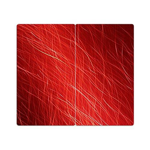 DEKOGLAS Herdabdeckplatten Set inkl. Noppen aus Glas \'Muster rot\', Herd Ceranfeld Abdeckung, 2-teilig universal 2x 52x30 cm