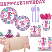 AMSCAN EUROPE Sweet Birthday Girl Party Supplies for 16 Guests, Includes Plates, Cups, a Banner, Table Cover,
