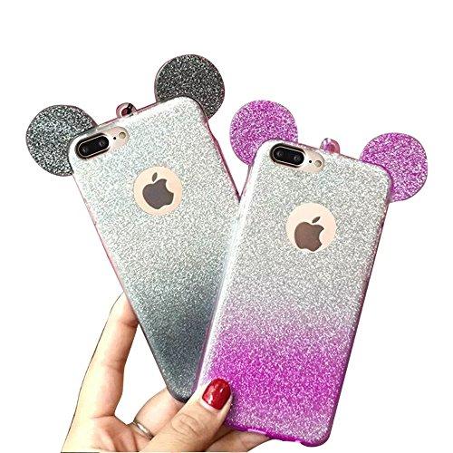 QianYang iPhone 8 Plus Etui iPhone 8 Plus Coque iPhone 8 Plus Housse iPhone 8 Plus 5.5 Pouces TPU Silicone Case Cover Trasparente TPU Gel Hull TPU Custodia Gradient-Purple