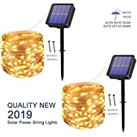 [2 Pack] Solar String Lights, 100 LED 10M/33Ft 8 Modes Solar Fairy Lights Waterproof Outdoor/Indoor Garden Lights Copper Wire Lighting for Wedding, Patio, Yard, Festoon, Christmas (Warm White)