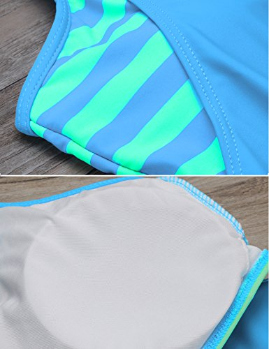 cooshional Damen Tankini Set Push-up Gestreift bikini Bademode swimwear Hellblau