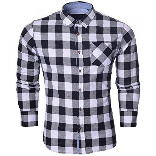 Brave Soul Herren Langärmelig Kariert Lumberjack Gebürstete Baumwolle Shirt Rot , Blau Weiß - Weiß kariert schwarz - Brave Soul kariert Indie, S