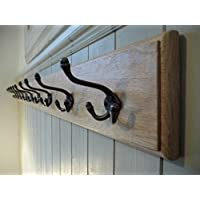 Handmade Wooden Coat Rack - Solid Oak, Cast Iron, Vintage Style