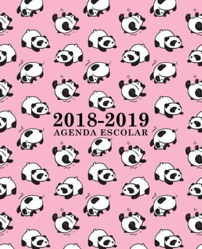 Agenda escolar 2018-2019: 190 x 235 mm: Agenda 2018-2019 semana vista español: 160 g/m²: Agenda semanal 12 meses: Panda osos en rosa por Papeterie Bleu