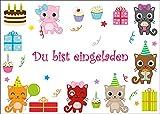 10 süsse Katzen-Einladungskarten / Geburtstagseinladungen Kinder Mädchen Jungen zum Kindergeburtstag von EDITION COLIBRI