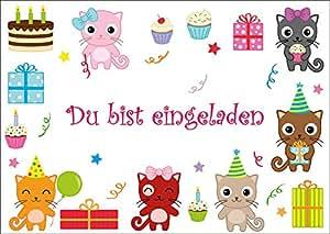 Lot de 10 animaux (no chats mignons 10693) cartes d'invitation pour anniversaire/fête d'«enfant animaux mignons chaton fête anniversaire pour fille