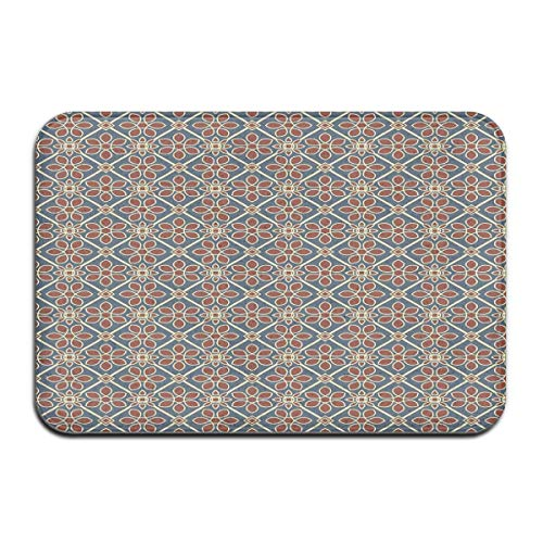 Square Pedestal Sink (Non-Slip Indoor/Outdoor Door Mat Bath Mat,Mehndi Style Cultural Motif Swirled Curved Petals Wild Flora Themed Squares,for Living Room Bedroom Rugs Place Mats)
