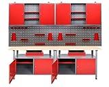 werkstatteinrichtung Werkbank Werkzeugschrank Werkzeugwand-Lochwand mit Haken