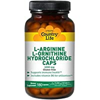 Country Life - L-Arginine L-Ornithine Hydrochloride Caps 1000 mg - 180 Capsules