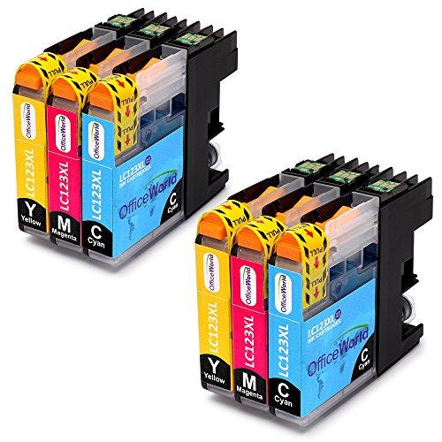 Cyan Ersatz-druckerpatrone (OfficeWorld Ersatz für Brother LC123 Cyan Magenta Gelb Druckerpatronen Hohe Kapazität Kompatibel für Brother MFC-J6520DW, DCP-J4110DW, MFC-J4410DW, MFC-J470DW, MFC-J870DW, DCP-J132W, MFC-J4510DW)