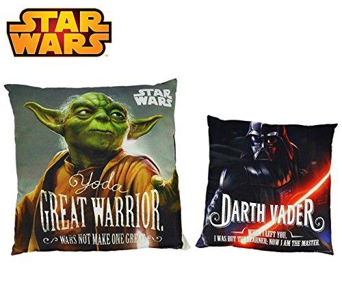 SW92244 Morbido cuscino Star Wars 40x40 cm doppia immagine Darth Vader - Yoda. MEDIA WAVE store ®