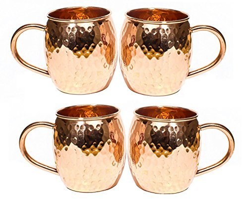 Hammered Copper Barrel Mug for Moscow Mules Size 16 Oz Set Of-4 by CGP 16 Oz Barrel Mug