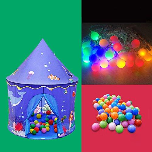 Pop-Up Rose Pop-Up Portable Play Tente Château Playhouse Enfants Filles Enfants Extérieur/Indoor Jeux 130 X 105 cms (Color : Tent+Light+Ball, Size : 2)