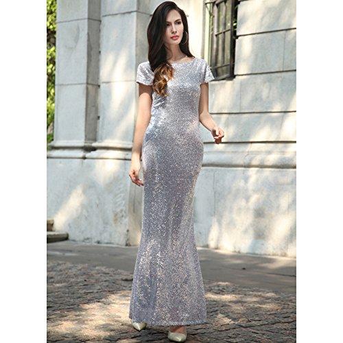 Frauen-Meerjungfrau-V-Ansatz Backless lange Brautjunfer-Kleider Sequin-Hochzeits-Party-Kleid Silber