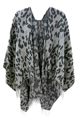 accessu® Damen Poncho Cape in High Fashion Animal Leo Jacquard Design Herbst/Winter - Animal-jacquard-jacke