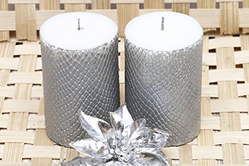 Decorative Designer Candles - SILVER (Set of 2)