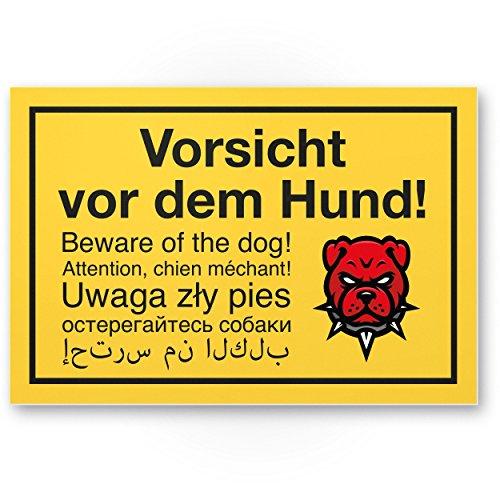 Vorsicht vor dem Hund mehrsprachig (gelb) - Hunde Kunststoff Schild, Hinweisschild Gartentor/Gartenzaun - Türschild Haustüre, Warnschild Abschreckung/Einbruchschutz - Achtung Hund