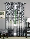 Achim Home Furnishings Kenya Window Curtain Panel, Black/White, 50 x 63-Inch