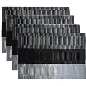 HOGAR AMO 4er Set Platzset PVC 45x30 cm Hitzebeständig Platzdeckchen Abwaschbar und Rutschfest Tischset für Küche Speisetisch Restaurant - Grau