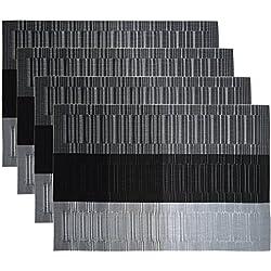 Manteles Individuales (Paquete de 4) Antidesgaste y Lavable y Resistente Al Calor Antideslizante Fácilmente Almacenado / Muebles de Estilo En Kitchen De Larga Duración y Textilene Duradera y Fácilmente Almacenado