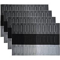 HOGAR AMO Manteles Individuales (Paquete de 4) Antidesgaste y Lavable y Resistente Al Calor Antideslizante/Muebles de Estilo En Kitchen De Larga Duración y Textilene Duradera y Fácilmente Almacenado