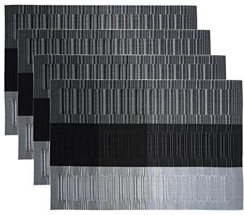 Glatte Vinyl Tischsets (NKTM Platzdeckchen (4 er in Schwarz +Grau) PVC Abgrifffeste Platzsets Abwaschbar Hitzebeständig und Rutschfest Küche Tischsets 45 x 30 cm)