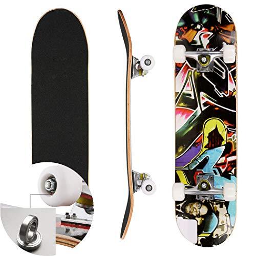 Skateboard Komplettboard für Kinder Jungendliche und Erwachsene Werkzeug ABEC-7 Kugellager und 8-lagigem Ahornholz Funboard 78.5 x 19.5 x 9.5cm Belastung 100 KG für Anfänger und Profis (Color3)
