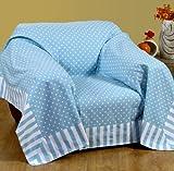 Homescapes Dekorativer Überwurf Polka Dots hellblau 150 x 200 cm für Sofa oder Bett Tagesdecke Plaid aus 100% reiner Baumwolle