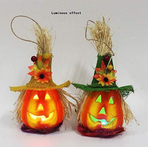 YC DOLL Laterne Dekorative Kürbis Schaum Halloween Dekorationen Requisiten, Licht-Emittierende Halloween Scarecrow Pumpkins-Bar Disco Halloween Dekoration-Paar ()