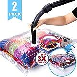 HELLOCAM vakuumbeutel für Kleidung/bettdecken/staubsauger, extra groß Bis zu 3X mehr Speicherplatz,Luftdicht wasserdicht Wiederverwendbarkeit, widerstandsfähig gegen Verschleiß und Abnutzung,2 teilig