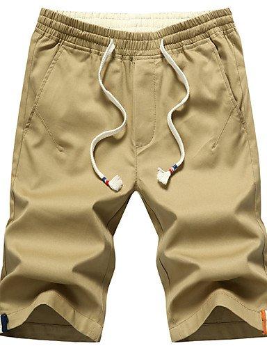 Da uomo Taglie forti Taglia piccola Chino Pantaloncini Pantaloni,Casual Spiaggia Sportivo Vintage Moda città Attivo Tinta unitaA vita Khaki