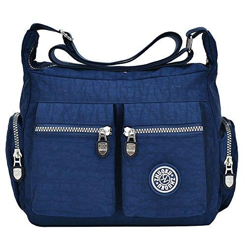 TIBES Bolsas de Hombro Impermeables Mujer Messenger Bag Bolso de cuerpo cruzado Nylon Bolso pequeño bolso de viaje Bleu profond