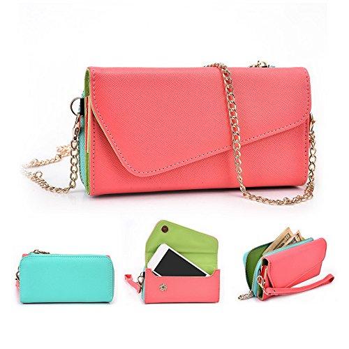 Kroo d'embrayage portefeuille avec dragonne et sangle bandoulière pour Smartphone Nokia 225 Green and Pink Rouge/vert