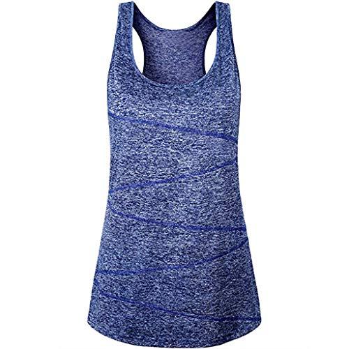 Damen Top Bluelucon, Sommer Sport Tank Top Ärmellos Bluse Gym Yoga T-Shirt Crop Top Casual Fitness Racerback Tanktop Oberteil Weste -