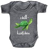 ShirtStreet Turtle Schildkröte Strampler Bio Baumwoll Baby Body kurzarm Jungen Mädchen Chillkrötchen 2, Größe: 3-6 Monate,Heather Grey Melange