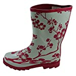 Jileon Festival Half Height Wellington Boots: White with Pink Flowers