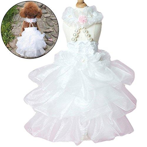 Hundekleid, Legendog Hund Tutu Kleid Breathable Sommer Cooles Haustier Tutu Kleidung Hund Hochzeitskleid für Hündchen M